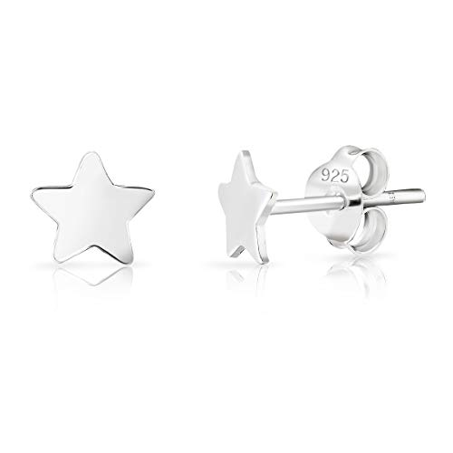 DTPsilver® SMALL 925 Sterling Silver Studs Earrings - Star - Diameter: 5 mm from DTPsilver