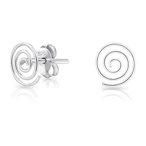 DTPsilver® SMALL 925 Sterling Silver Studs Earrings - Swirl Spiral - Dimension: 7 x 8 mm from DTPsilver