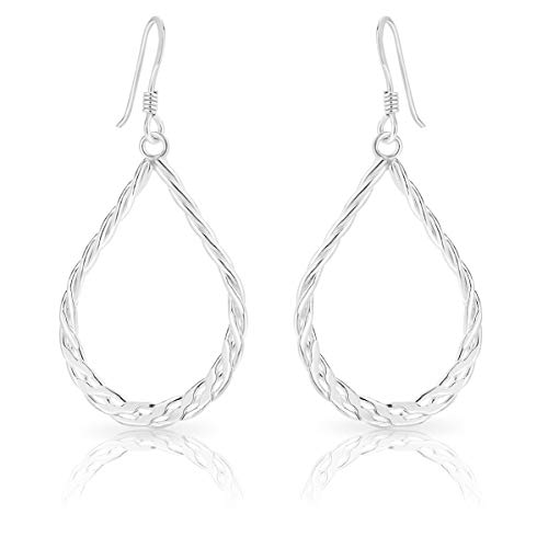 DTPsilver® 925 Sterling Silver Hook Dangle Earrings - Teardrop Twisted Rope Style - Size: 19 x 43 mm from DTPsilver