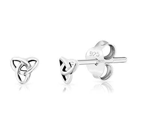DTPsilver® SMALL 925 Sterling Silver Studs Earrings - Celtic Trinity Knot/Triquetra - Diameter 4 mm from DTPsilver