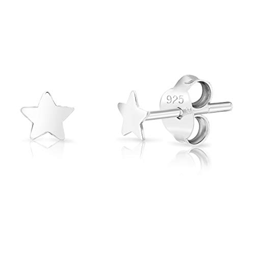 DTPsilver® SMALL 925 Sterling Silver Studs Earrings - Star - Diameter: 3.5 mm from DTPsilver
