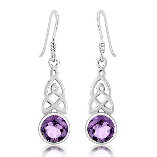 DTPSilver - 925 Sterling Silver Drop/Dangle Hooks Earrings - Trinity Knot - Celtic Collection - Amethyst from DTPsilver