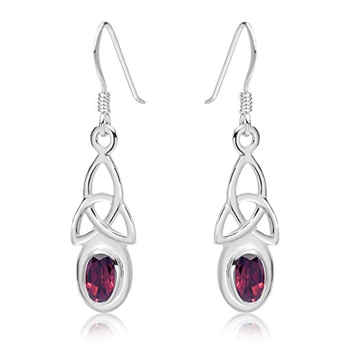 DTPSilver - 925 Sterling Silver Drop/Dangle Hooks Earrings - Trinity Knot - Celtic Collection - Garnet from DTPsilver
