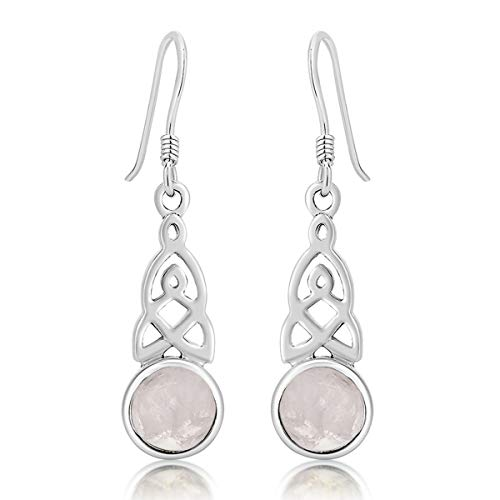 DTPSilver - 925 Sterling Silver Drop/Dangle Hooks Earrings - Trinity Knot - Celtic Collection - Moonstone from DTPsilver