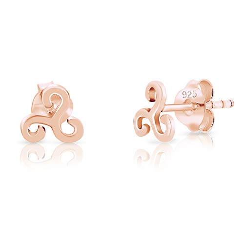 DTPsilver® SMALL 925 Sterling Silver Rose Gold Plated Studs Earrings - Celtic Triskele - Diameter: 6 mm from DTPsilver
