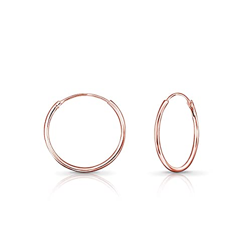DTPSilver - Hoops Earrings in 925 Sterling Silver Rose Gold Plated- Thickness 1.2 mm - Diameter 20 mm from DTPsilver