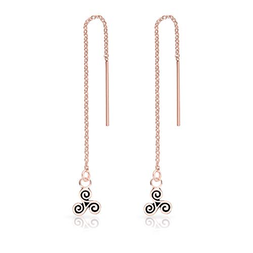 DTPsilver® 925 Sterling Silver Rose Gold Plated Pull Through/Thread Style Drop Chain Earrings and Small Celtic Triskele - Length: 75 mm - Triskele Diameter: 6 mm from DTPsilver