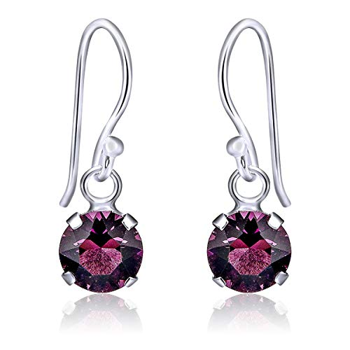 DTPSilver - 925 Sterling Silver Round Hook Dangle/Drop Earrings made with Glittering Crystals from Swarovski® Elements - Diameter: 6 mm - Colour : Purple Amethyst from DTPsilver