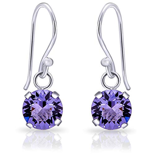 DTPSilver - 925 Sterling Silver Round Hook Dangle/Drop Earrings made with Glittering Crystals from Swarovski® Elements - Diameter: 6 mm - Colour : Tanzanite from DTPsilver