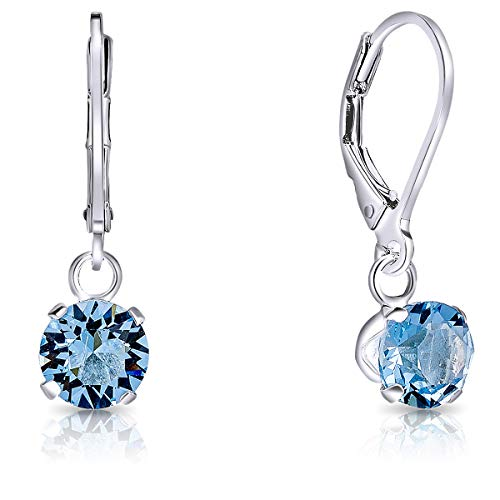 DTPSilver - 925 Sterling Silver Round Dangle Leverback Earrings made with Glittering Crystals from Swarovski® Elements - Diameter: 6 mm - Colour : Blue Aquamarine from DTPsilver