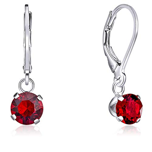 DTPSilver - 925 Sterling Silver Round Dangle Leverback Earrings made with Glittering Crystals from Swarovski® Elements - Diameter: 6 mm - Colour : Red Light Siam from DTPsilver