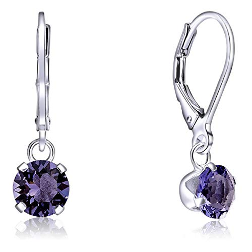 DTPSilver - 925 Sterling Silver Round Dangle Leverback Earrings made with Glittering Crystals from Swarovski® Elements - Diameter: 6 mm - Colour : Tanzanite from DTPsilver