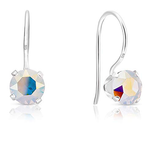 DTPSilver - 925 Sterling Silver Round Fixed Hook Earrings made with Glittering Crystals from Swarovski® Elements - Diameter: 6 mm - Colour : Aurora Borealis from DTPsilver