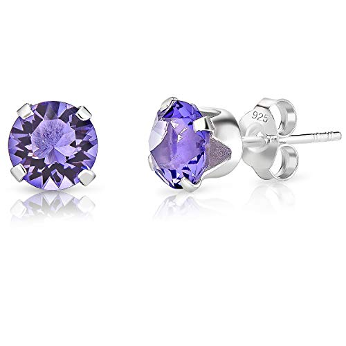 DTPSilver - 925 Sterling Silver Round Stud Earrings made with Glittering Crystals from Swarovski® Elements - Diameter: 6 mm - Colour : Tanzanite from DTPsilver