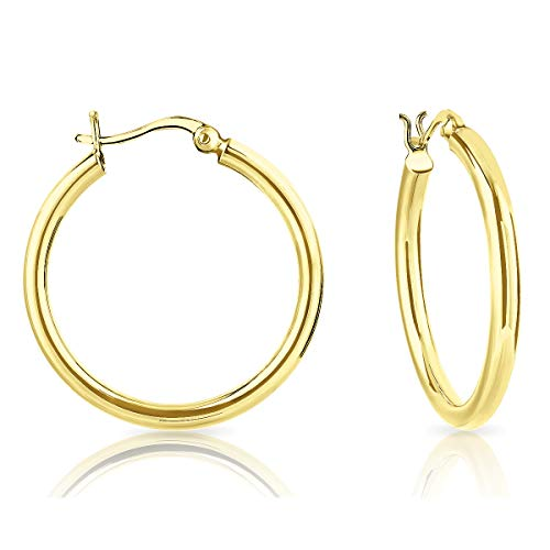 DTPSilver - 925 Sterling Silver Yellow Gold Plated Creole Hoops Earrings - Thickness 3 mm - Diameter 30 mm from DTPsilver