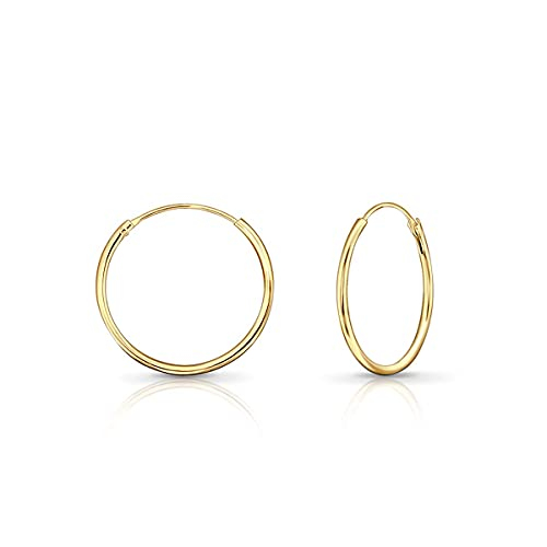 DTPSilver - Hoops Earrings in 925 Sterling Silver Yellow Gold Plated- Thickness 1.5 mm - Diameter 20 mm from DTPsilver