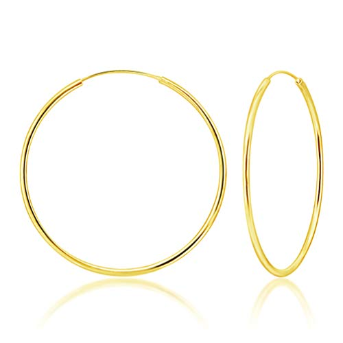 DTPsilver® Hoops Earrings in 925 Sterling Silver Yellow Gold Plated- Thickness 2 mm - Diameter 60 mm from DTPsilver