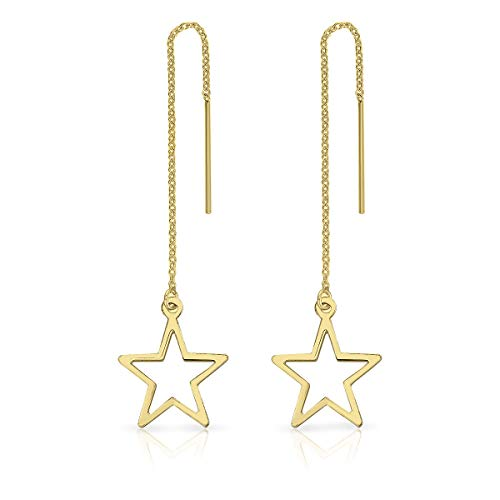 DTPsilver® 925 Sterling Silver Yellow Gold Plated Pull Through/Thread Style Drop Chain Earrings and Cut-out Star - Length: 84 mm - Star Dimension: 14 x 17 mm from DTPsilver