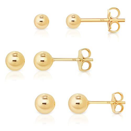 DTPSilver - Set of 3 PAIRS of 925 Sterling Silver Yellow Gold Plated Round Ball Studs Earrings 4, 5,6 mm from DTPsilver