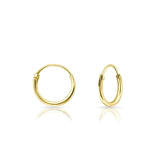 DTPsilver® 925 Sterling Silver Yellow Gold plated TINY Hoops/Sleepers Earrings - Thickness 1.5 mm - Diameter 10 mm from DTPsilver