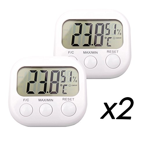 DURAGADGET *Twin-Pack* Small Indoor LCD Room Temperature & Humidity Thermometer/Gauge With Stand And Digital Display - Perfect For Use In The Office Or At Home from DURAGADGET