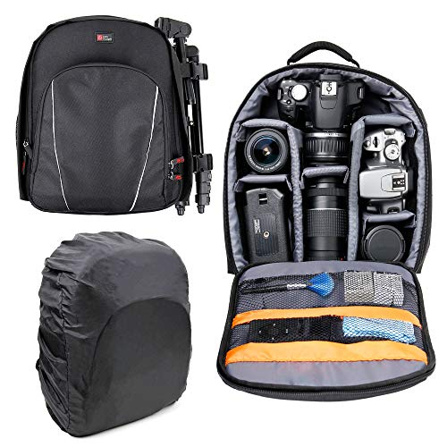 DURAGADGET Black Backpack - Compatible with Canon EOS 2000D | 400D | M50 | 1300D | 1200D | 1100D | 750D | 700D | 650D | 600D | 550D | 350D | 100D | 70D | 60D | 7D | 6D | 5D | Kiss X50 & SX510 HS from DURAGADGET