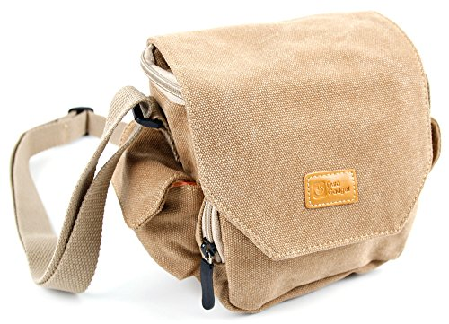 DURAGADGET Tan Brown Medium Sized Canvas Carry Bag - Compatible with Olympus Stylus TG-870 & SH-1 | PEN-F | E-PL8 | Pen E-PL8 | TG-5 | OM-D E-M5 Mark II | from DURAGADGET