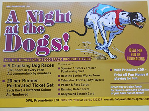NIGHT AT THE DOGS - 9 GREAT DOG RACES ON DVD- GREAT FOR FUN OR FUNDRAISING- PRINTABLE FUN MONEY DISC from FUNDRAISING AND MEDALS