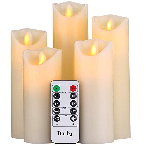 "Flameless Candles,Da by 5"" 6"" 7"" 8"" 9""Set of 5 Realistic Dancing LED Flickering Wick for Parties,Home,Public Elegant Events, Battery Powered, 10-Key Remote Control , Ivory Color from Da by"