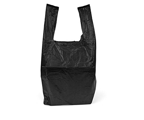 High Quality Plastic Vest Carrier Bags For Supermarkets Stalls & Shops , 15 Micron Thickness , All Sizes Available in Blue , Black , White [ 8 x 13 x 18 inches , Black , Set of 4000 PCS ] from Dabmoo