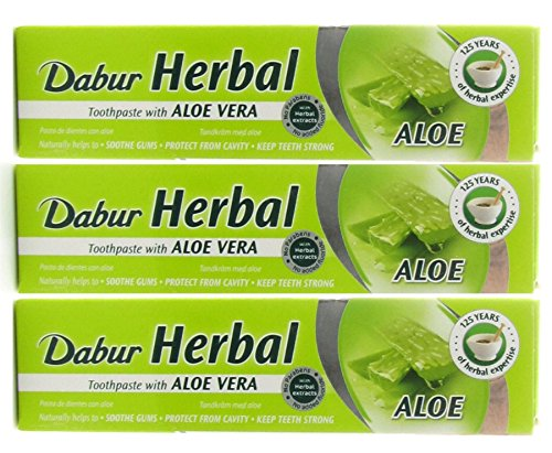 Dabur Herbal Toothpaste - Aloe Vera - 6 x 100ml Tubes - Fluoride Free from Dabur