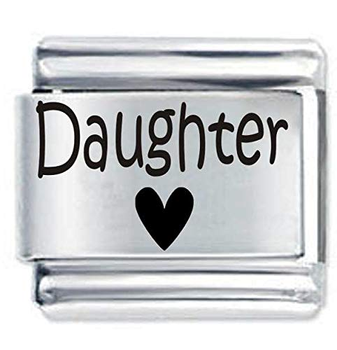 Daisy Charm Branded Daughter Heart ETCHED Italian Charm - Fits Nomination Classic charms & Bracelets from Daisy Charm