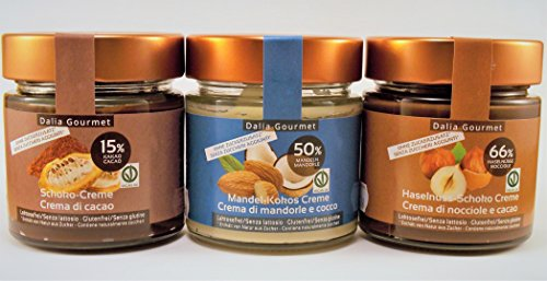 Hazelnut Chocolate Cream (200g-7oz), Cocoa Cream (200g-7oz), Almond Coconut (200g-7oz) - no added sugars or fats, gluten- and lactosefree from Dalia Gourmet