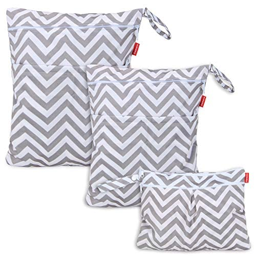 Damero 3pcs Pack Wet Dry Bag for Cloth Diapers Nappy Bag Daycare Organiser Bag, Grey Chevron from Damero