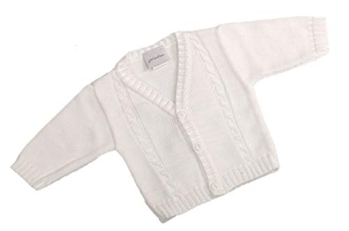 Dandelion Baby Boy Cable Knitted Bolero Cardigan for Newborn (0-3 Months, White) from Dandelion Clothing