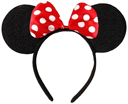Black With Red Bow & White Polka Dot Minnie Mouse Disney Fancy Dress Ears Head Band from DangerousFX