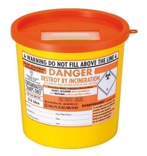 SharpsGuard Orange Lid 2.5 Litre Colour Coded Sharps Bin from Daniels