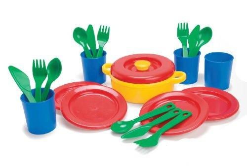 Dantoy Dinner Set for 4, 22 Piece Role Play for Kids Pretend Play, Made in Denmark - Multi Colour from Dantoy