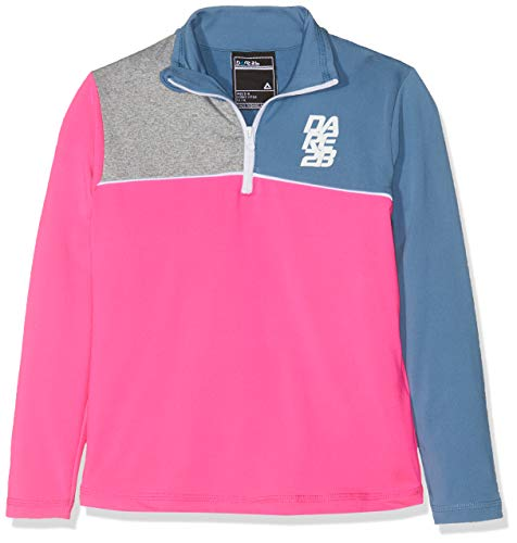 Dare2B Kid's Foray Core Stretch Half Zip Quick Drying Mid Layer Top, Cyber Pink/Astronomy Blue, Size 3-4 from Dare 2b