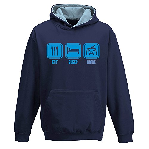 Eat sleep GAME, two-tone HOODY, video game, xbox gamer, gaming, funny, childrens kids boys girls Hoodie, Navy Blue - Sky Blue, 12-13 from DavesDisco