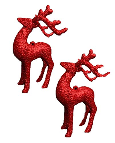 Pack Of 2 12cm Red Glitter Reindeer Christmas Baubles - Tree Decorations - Traditional Decorations. from Davies