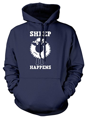 Sheep Happens Mens Womens Ladies Unisex Hoodie-Medium-Navy from Daytripper Clothing