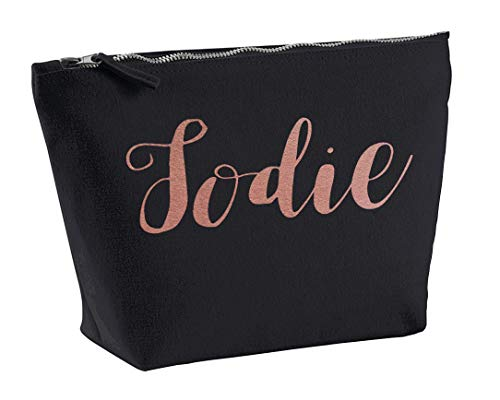 Jodie Personalised Make Up Accessory Bag In Black Colour Glitter Or Metallic Print Birthdays Weddings Christmas-Medium-Rose from Daytripper Cloting