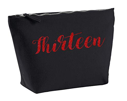 Thirteen 13th Make Up Accessory Bag In Black Colour Glitter Or Metallic Print Birthdays Weddings Christmas-Medium-Red from Daytripper Cloting