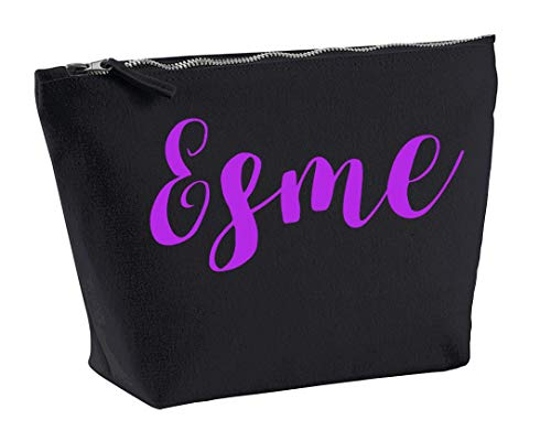 Esme Personalised Make Up Accessory Bag In Black Colour Purple Print Birthdays Weddings Christmas Makeup from Daytripper