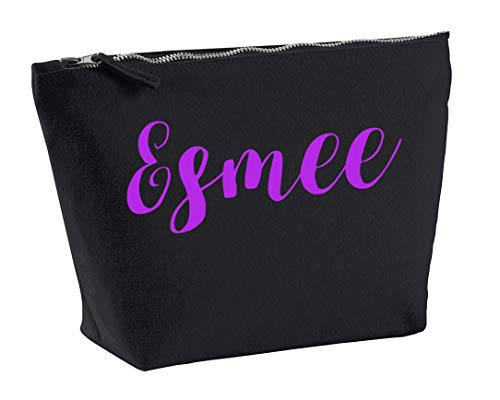 Esmee Personalised Make Up Accessory Bag In Black Colour Purple Print Birthdays Weddings Christmas Makeup from Daytripper