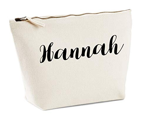 Hannah Personalised Make Up Accessory Bag In Natural Colour Black Print Birthdays Weddings Christmas Makeup from Daytripper