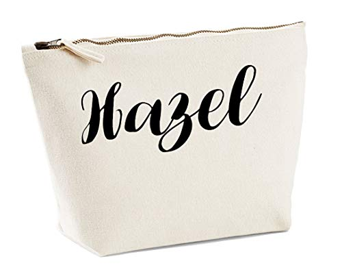 Hazel Personalised Make Up Accessory Bag In Natural Colour Black Print Birthdays Weddings Christmas Makeup from Daytripper