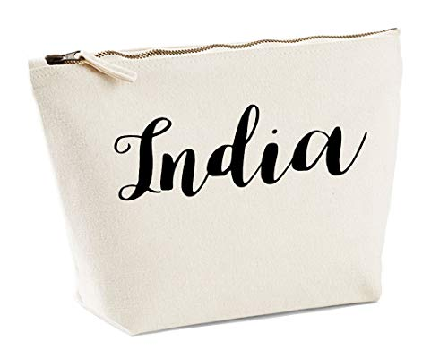 India Personalised Make Up Accessory Bag In Natural Colour Black Print Birthdays Weddings Christmas Makeup from Daytripper