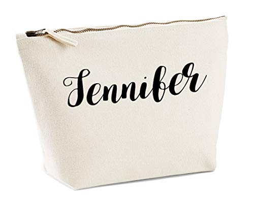 Jennifer Personalised Make Up Accessory Bag In Natural Colour Black Print Birthdays Weddings Christmas Makeup from Daytripper